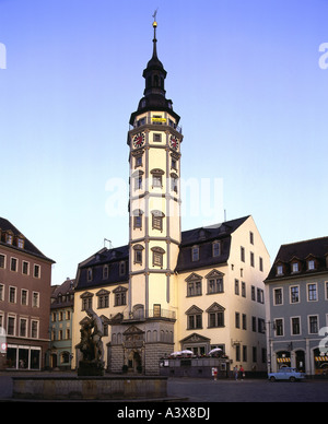 geography / travel, Germany, Thuringia, Gera, squares, town hall and market place with Simsonbrunnen, Europe, built: - Stock Photo
