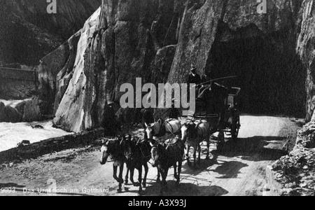geography / travel, Switzerland, transportation, pass, St. Gotthard Pass, road, Urnerloch, stagecoach, photograph, - Stock Photo