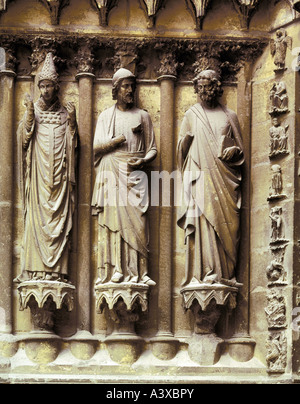 geography/travel, France, Reims, churches and convents, Notre-Dame cathedral, exterior view, western facade, Kingœs - Stock Photo