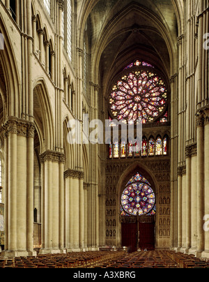 geography/travel, France, Reims, churches and convents, Notre-Dame cathedral, interior view, view at Kingœs portal - Stock Photo