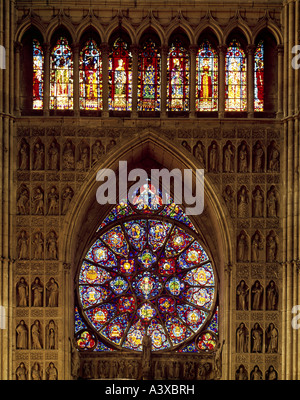 geography/travel, France, Reims, churches and convents, Notre-Dame cathedral, interior view, Kingœs portal with - Stock Photo