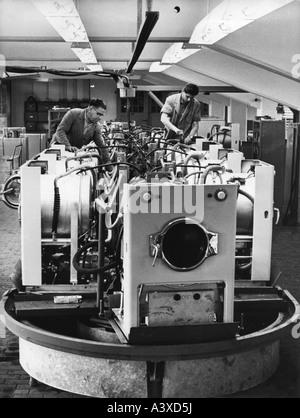 geography/travel, Germany, GDR, industry, prodution of  washing machine WA 61, VEB Waschgerätewerk, Schwarzenberg, - Stock Photo