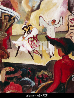 'fine arts, Macke, August, (1887 - 1914), painting, 'Russisches Ballett', ('Russian ballet'), 1912, oil on paperboard, - Stock Photo
