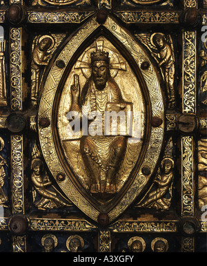 fine arts, religious art, antependium, detail of Christ on throne, 13th century, Historic Museum Stockholm, historic, - Stock Photo