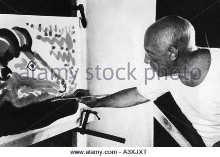 'Picasso, Pablo, 25.10.1881 - 8.4.1973, Spanish painter & sculptor, painting, PR Photo from the movie 'The Mystery - Stock Photo