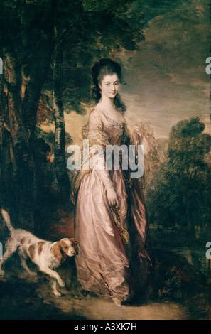 'fine arts, Gainsborough, Thomas, (1727 - 1788), painting, 'Portrait of Mrs Lowndes-Stone', circa 1775, oil on canvas, - Stock Photo