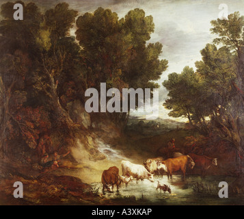 'fine arts, Gainsborough, Thomas, (1727 - 1788), painting, 'The Watering Place', before 1777, oil on canvas, 147,3 - Stock Photo