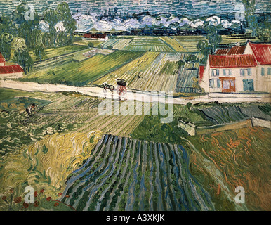 'fine arts, Gogh, Vincent van, (1853 - 1890), painting, 'landscape with horse carriage and train in background', 1890, oil on
