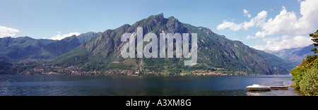 PANORAMIC VIEW OVER LAKE LUGANO FROM OSTENO TOWARDS MOUNT DEI PIXXONI 1179m ITALIAN LAKES NORTHERN ITALY EUROPE - Stock Photo