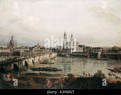 'fine arts, Bellotto, Bernardo, called Canaletto, (1722 - 1780), painting, 'view on Dresden from Neustadt bridgehead', - Stock Photo