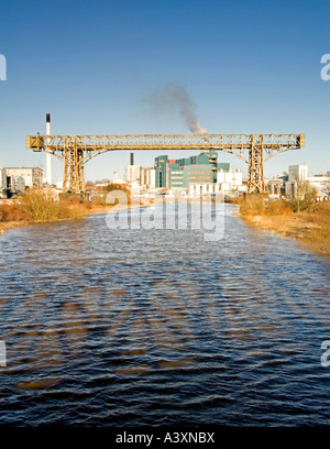 The Warrington Transporter Bridge or Bank Quay Transporter Bridge and River Mersey, Warrington, Cheshire, England, - Stock Photo