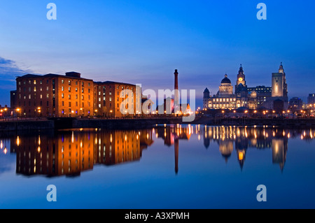 The Pumphose, Liver Buildings & Albert Dock Reflected in Salthouse Dock, Liverpool, Merseyside, England, UK - Stock Photo