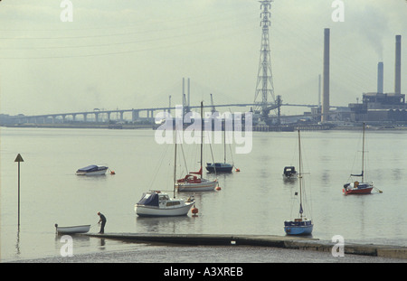 Thames estuary Thurrock Essex England  A weekend sailor the river The Dartford bridge is in the distance HOMER SYKES - Stock Photo