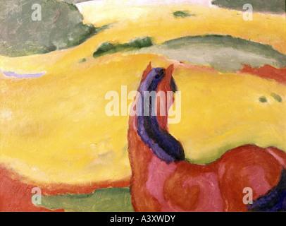 'fine arts, Marc, Franz, (1880 - 1916), painting, 'Pferd in Landschaft', ('horse in landscape'), 1910, oil on canvas, 112 cm