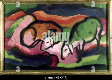 'fine arts, Marc, Franz, (1880 - 1916), painting, 'Schafe', 'sheep', 1912, oil on canvas, 49,5 cm x 77 cm, Saarland museum,