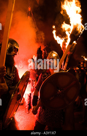 dh Up Helly Aa fire procession LERWICK SHETLAND Viking Jarl squad Vikings shetlands flaming torch parade festival - Stock Photo