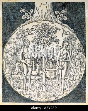 fine arts, religious art, Adam and Eve, paradise, with fountain and water of life, woodcut, illustration, France, - Stock Photo