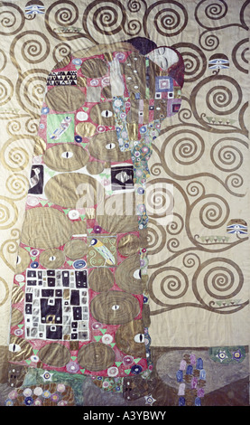 'fine arts, Klimt, Gustav, (1862 - 1918), painting, 'Die Erfüllung - Lebensbaum', ('fulfillment - tree of life'), - Stock Photo