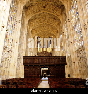 King's College Chapel Cambridge, view of interior with fan-vaulted ceiling and organ loft - Stock Photo