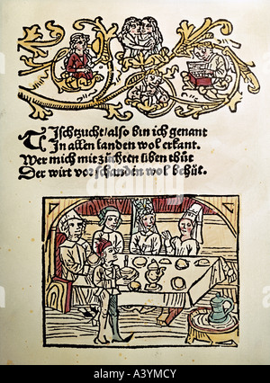 people, food and beverages, 'Tafelnde Gesellschaft', ('prta eating'), colour woodcut, title of, 'Tischzucht', ('table - Stock Photo