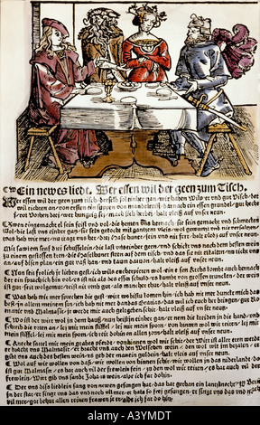people, food and beverages, poem on table manners, colour woodcut, broadsheet, Nuremberg, first half 16th century, - Stock Photo