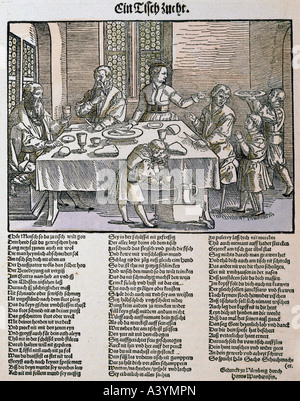 people, food and beverages, 'Ein Tischzucht', ('table manners'), colour woodcut, broadsheet, Nuremberg, first half - Stock Photo