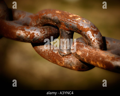 Rusty link of giant ships chain - Stock Photo