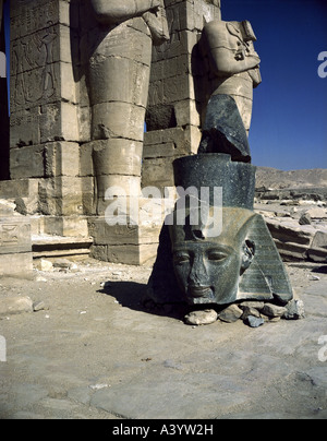 travel /geography, Egypt, Thebes, buildings, Ramesseum, Temple of Pharaoh Ramesses II, exterior view, second court, - Stock Photo
