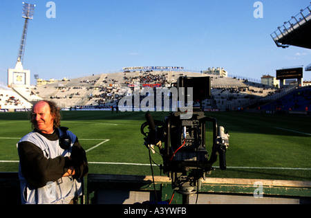 TV cameraman at the Stade Velodrome home to French League one side Olympique Marseille, France. - Stock Photo