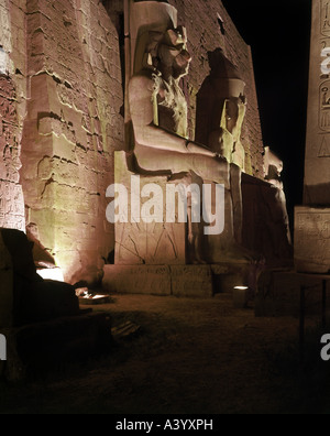 travel /geography, Egypt, Luxor, buildings, temple, Theban divine family Amun, Mut, Chons, exterior view, night, - Stock Photo