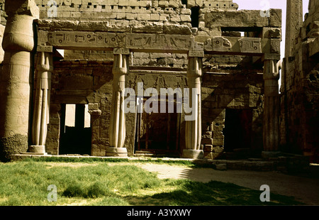 travel /geography, Egypt, Luxor, buildings, temple, Theban divine family Amun, Mut, Chons, exterior view, granite - Stock Photo