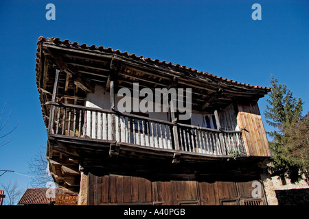 typical house of santander region in barcena mayor cantabria spain - Stock Photo