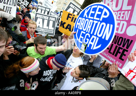 Pro-Life activists take part in the annual March for Life protest, Washington DC. January 23 2006. - Stock Photo