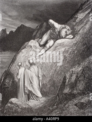 Engraving by Gustave Dore 1832 1883 French artist and illustrator for Inferno by Dante Alighieri Canto XII lines - Stock Photo