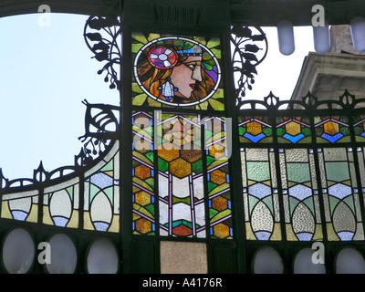 Stained glass art nouveau screen detail over the main entrance Prague Old Town Municipal House Praha Czech Republic - Stock Photo