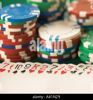 Still life of cards and chips - Stock Photo