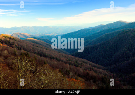 Layered mountains of the Smokies at sunrise from Ober Galtlinburg above Gatlinburg, Tennessee, USA. - Stock Photo