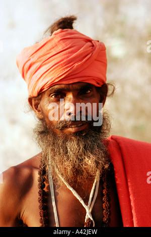 Sadhu's portrait in Rishikesh, uttranchal, India - Stock Photo
