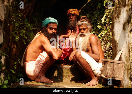 Hindu Sadhu at his meditation hideout in Rishikesh Uttranchal, India - Stock Photo