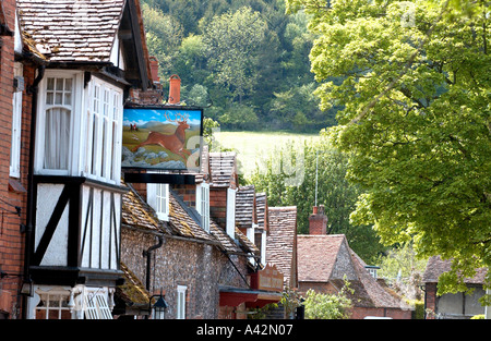 Historic hamlet of Hambledon, Bucks, with half timbered brick and flint cottages and pub. - Stock Photo