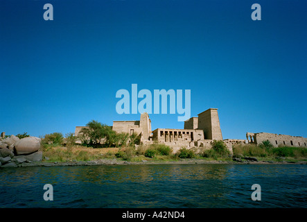 The temple of Isis at Philae was moved stone by stone by Unesco to another island in the 1970s when the Aswan dam - Stock Photo