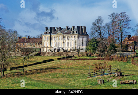 Haras National du Pin which is near Argentan in the Orne 61 departement of France - Stock Photo