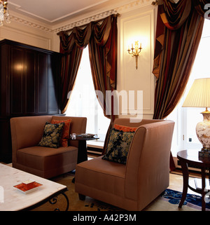 Silk Drapes On Tall Windows In Opulent French Chateau Dining Room ...