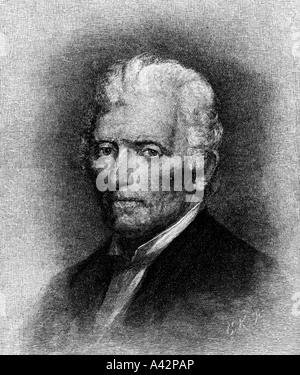 engraving of Daniel Boone American pioneer - Stock Photo