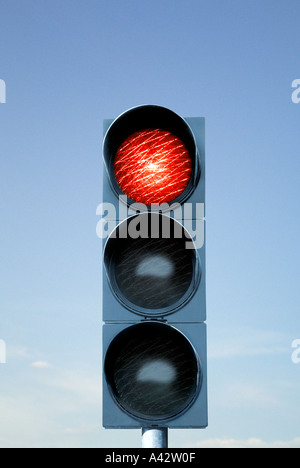 Traffic light device before blue sky Ampelanlage vor blauem Himmel - Stock Photo