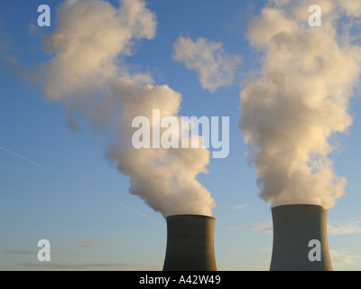 nuclear power station Kühltürme Atomkraftwerk - Stock Photo