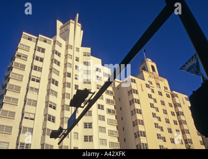 LOW ANGLE VIEW OF THE HOTELS NATIONAL AND DELANO ART DECO DISTRICT SOUTH MIAMI FLORIDA USA
