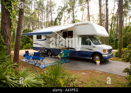Rv Camping In A Wilderness Campground Beside A Lake Near