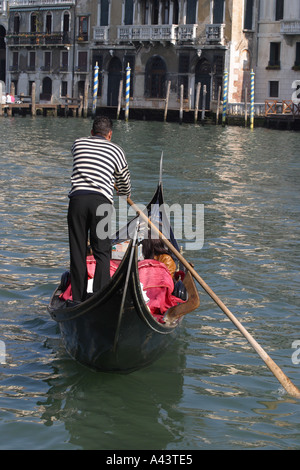 Gondola Venice Italy gondolier and gondola on The Grand Canal taken 2005 - Stock Photo