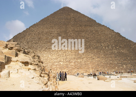 The great pyramid of Khufu (Cheops), as seen from the pyramids of Queens.  The Giza plateau, Cairo, Egypt - Stock Photo